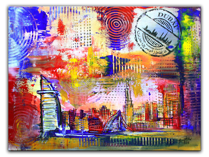 Dubai mit Burj al Arab - Stadtbild, Stadtmalerei, Stadt Gemälde