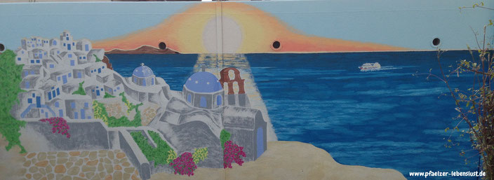 Wandgemälde, Santorini, Meer, Sonnenuntergang, Aida, malen, Wand