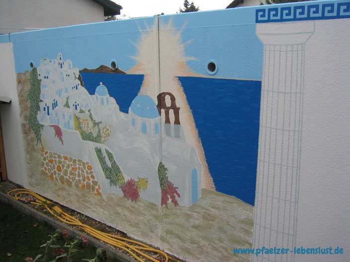 Santorini Wand Griechenland Sonnenuntergang Meer Säule selbst malen