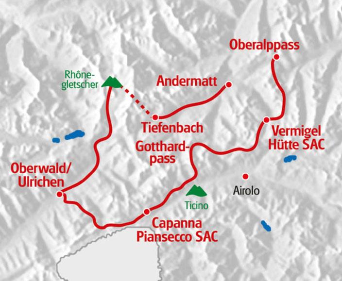 Weitwandern ohne Gepäck im Gotthard-Massiv: Vier Quellen Weg