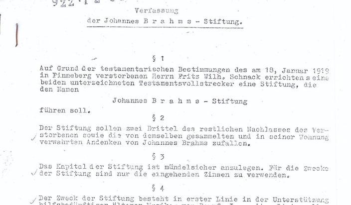 Satzung Johannes Brahms Stiftung