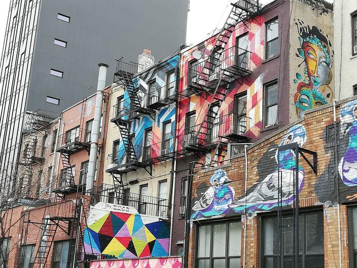 Huizen met muurschilderingen in New York City