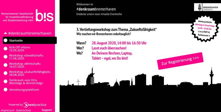 Denkraum Bremerhaven - Screenshot der Webseite (16.08.2020)