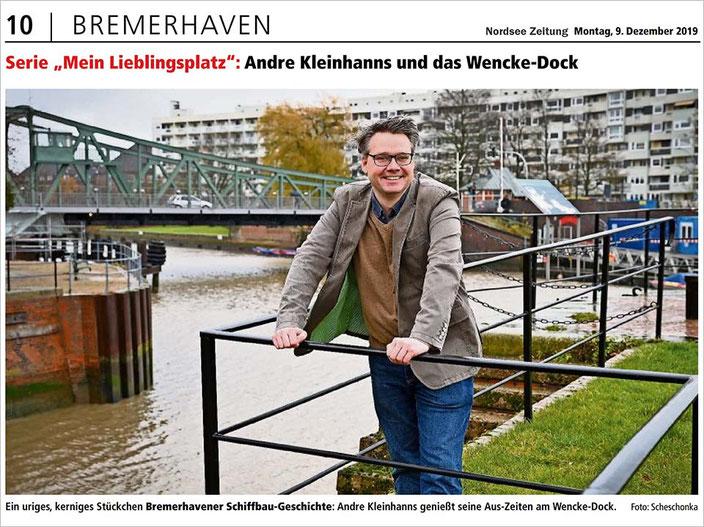 """Serie """"Mein Lieblingsplatz"""": Andre Kleinhanns und das Wencke-Dock, Foto: Scheschonka (Nordsee Zeitung)"""