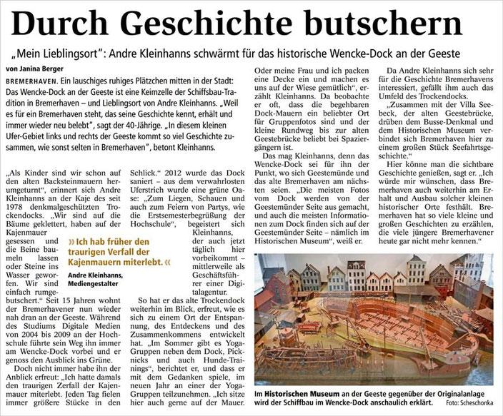 """Serie """"Mein Lieblingsplatz"""": Andre Kleinhanns und das Wencke-Dock, Text: Janina Berger (Nordsee Zeitung)"""