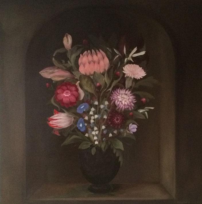 z.t. bloemstilleven voor historisch pand in opdracht van Bayer vastgoed, Den Haag.    olieverf - paneel  90 x 90 cm 2014