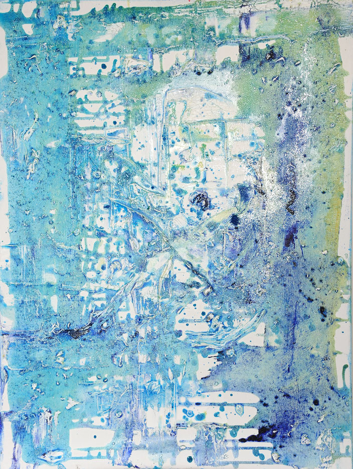 Eisrosen I , 2018, 80 cm × 60 cm, oil, glitter on canvas, Copyright Christina Mitterhuber