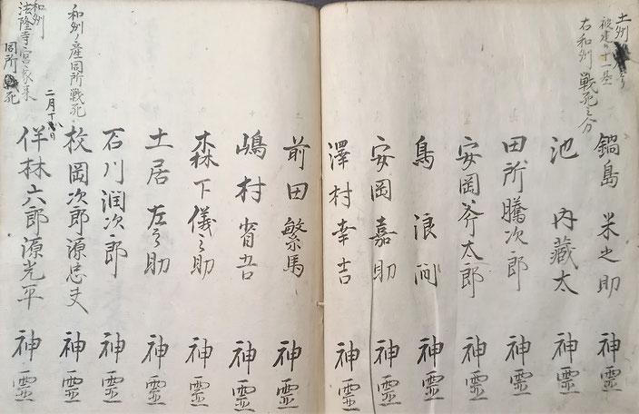 一番左に「伴林六郎源光平」の名前がある(『霊名記』霊明神社所蔵)