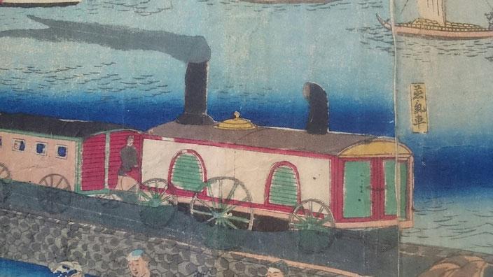 機関車部分の拡大図。線路の描写がなく、側面には唐窓風の開口部が描かれている。