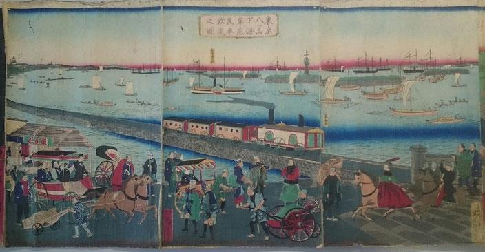 三代歌川広重「東京八ッ山下海岸蒸気車之図」(1871年 明治4年。 島英雄所蔵)