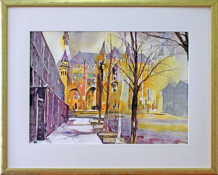"""Aachen - Rathaus vom Katschhof"" (Aquarell), 75 cm x 60 cm"