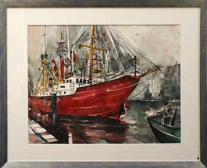 """""""Im Hafen"""" (Aquarell), 75 cm x 55 cm"""
