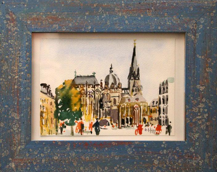 """Aachener Dom vom Katschhof"" (Aquarell), 20 cm x 14 cm"