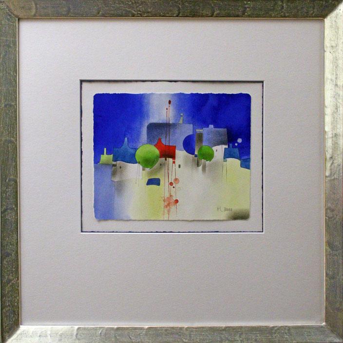 """Häuser"" (Aquarell), 50 cm x 50 cm"