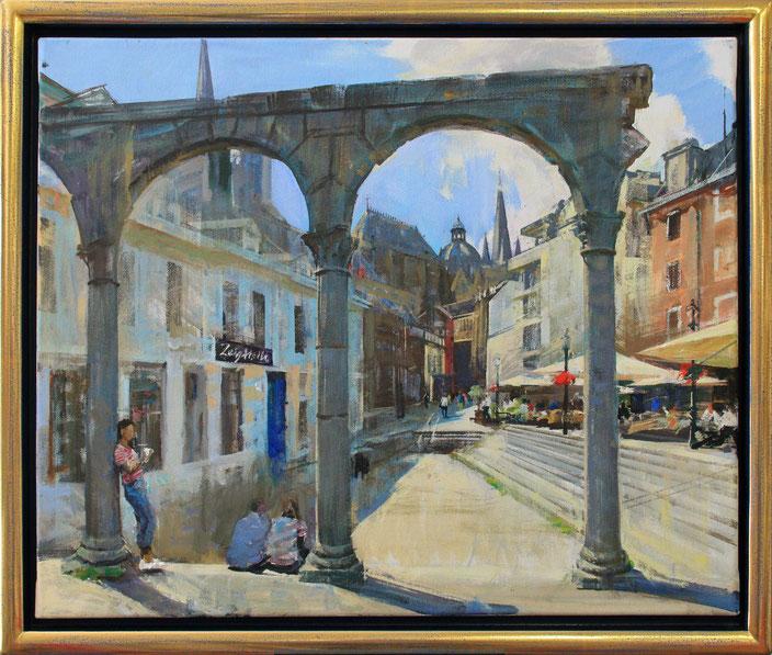 """Aachen - Hof"", 60 cm x 50 cm"