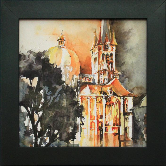 """Aachener Dom"" (Aquarell), 20 cm x 20 cm"
