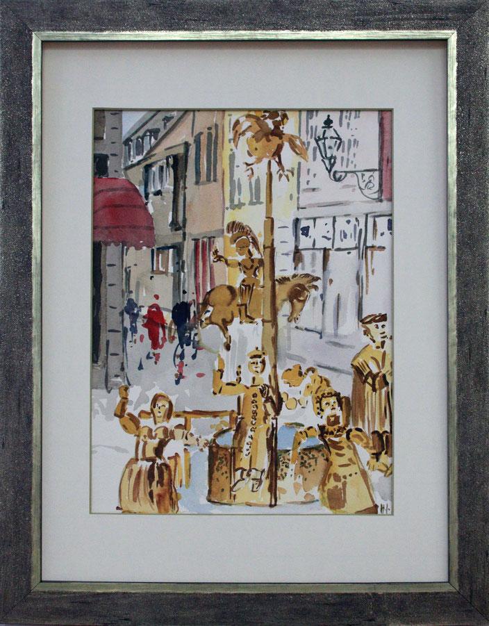"""""""Puppenbrunnen in Aachen"""" (Aquarell), 30 cm x 40 cm"""