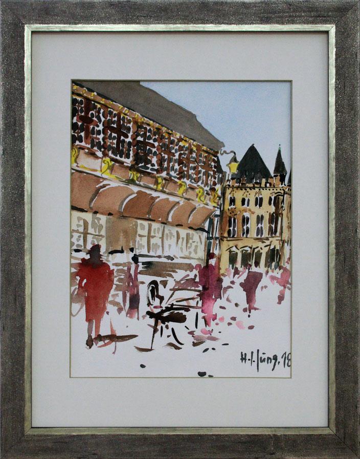 """Postwagen am Aachener Markt"" (Aquarell), 30 cm x 40 cm"