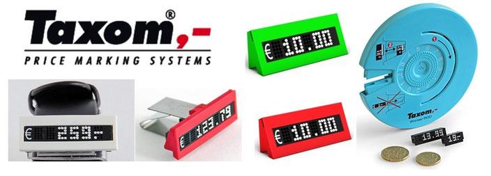 TAXOM-Printer rund für das System 500, verschiedene Preismodule mit Halterungen, z. B. Stainless-Holder