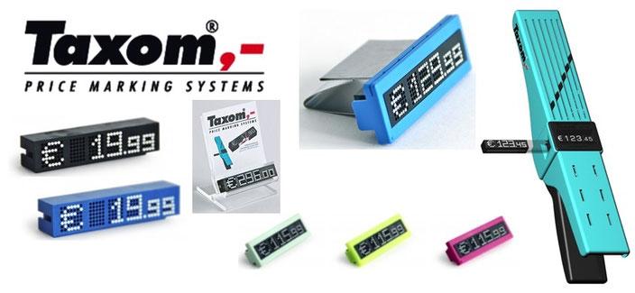 TAXOM-Printer und Preismodule in verschiedenen Farben, mit Multi-Frame (Rahmen)