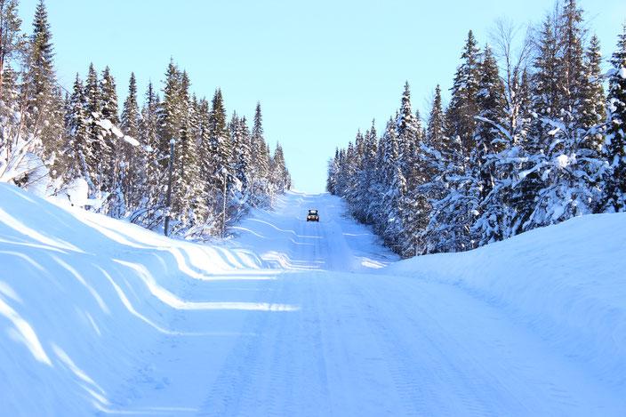 Snow Road im Wald von Finnland
