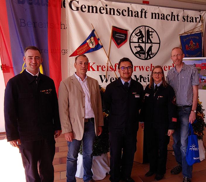 V. l.: GBI Pascal Jacob, Bürgermeisterkandidat Timo Friedrich, Jugendwarte Alexander Richter und Katja Jacob sowie KV FREIE Wähler Dr. Claus Wenzel