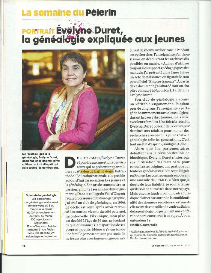 Un article de la revue Le Pelerin Magazine paru en mars 2020