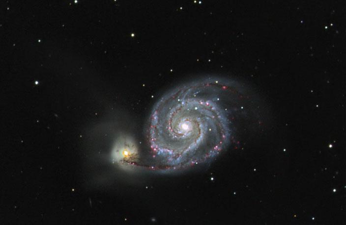 Messier M51 - LUM & RGB Daten aus dem Jahre 2017, angereichert mit H-Alpha Daten vom 20.03.2019