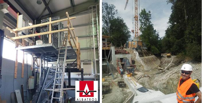 Links: Spannmechanismus des FishProtectors im Werk von Albatros Engineering GmbH;  Rechts: Einlaufbauwerk zur Restwasserturbine im Triebwasserkanal, Sohle und Böschungsfundamente des FishProtectors