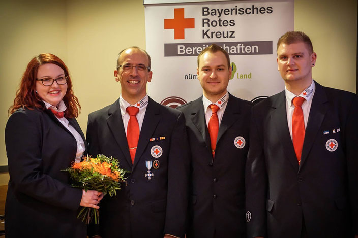 Die neue Bereitschaftsleitung: Mara Polster (Sanitätsdienstbeauftragte), Martin Linz (1. Bereitschaftsleiter), Maximilian Hauptkorn (stv. Bereitschaftsleiter), Philipp Popp (SEG-Leiter)