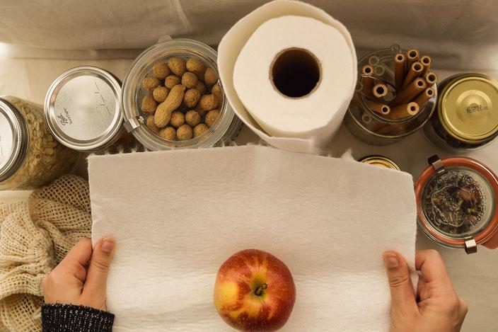 Nachhaltigkeit in der Küche, Plastikfreie Gläser und nachhaltige Küchenrolle