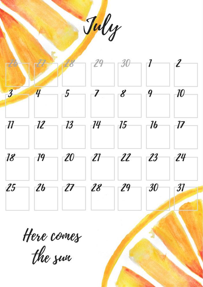 Juli Monatsübersicht