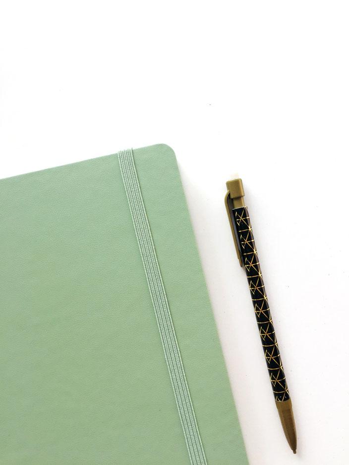Moleskine Notizbuch Pastellgrün, Bleistift