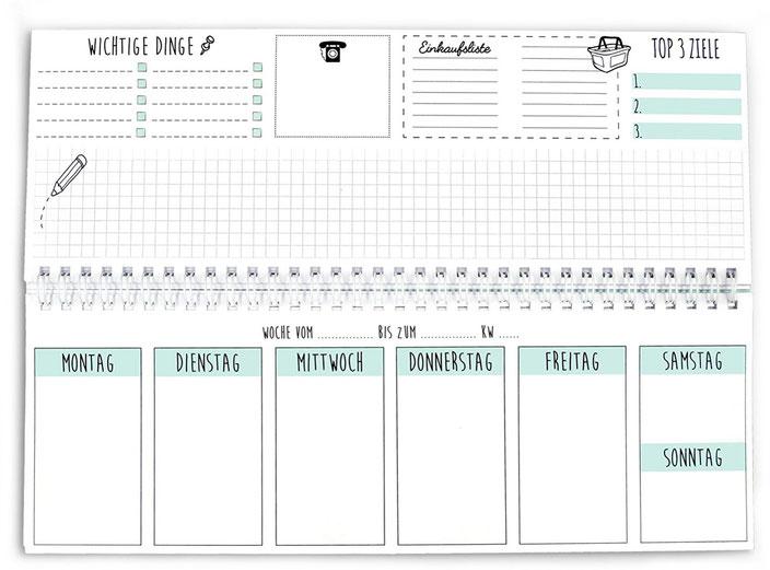 Tischkalender, Organisation, Produktivität, Motivation, hübsch, Wochenplaner