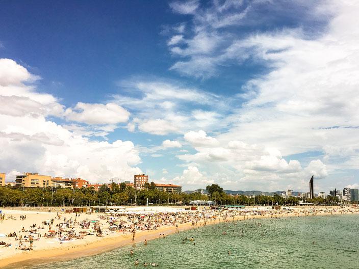 Strand in Barcelona Mittelmeer RiekesBlog.com