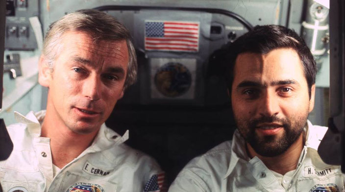 Cernan with geologist Harrison Schmitt aboard Apollo 17