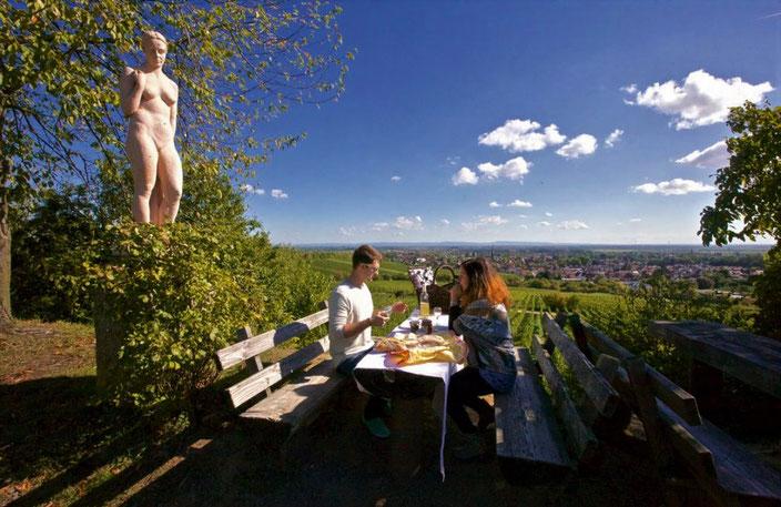 Der beliebte Rastplatz bietet einen weiten fantastischen Blick über das Vorderpfälzische Hügelland bis in die Rheinebene.