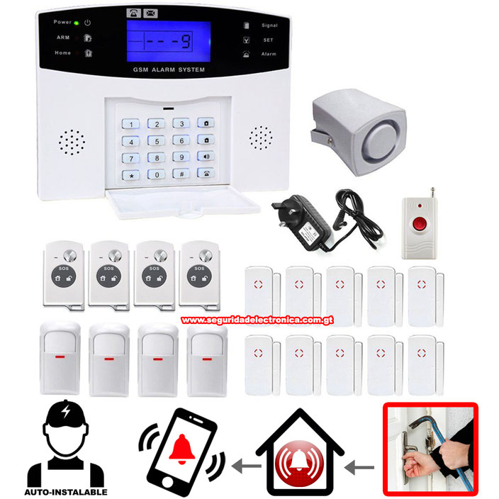 ALARMA GSM PROFESIONAL 10 MAGNETOS, 4 SENSORES DE MOVIMIENTO PIR, 4 CONTROLES REMOTOS, 1 BOTON DE PANICO, 1 SIRENA, 1 PANEL GSM