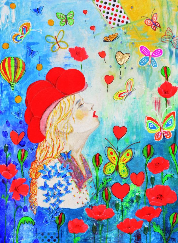 Schwarzwaldbild/Bollenhut/Blumenbilder/Fantasy/Flowers/Blumen/Mädchen/Hybiskus/Blüten/Blumenmädchen/Träumerei/Dreams