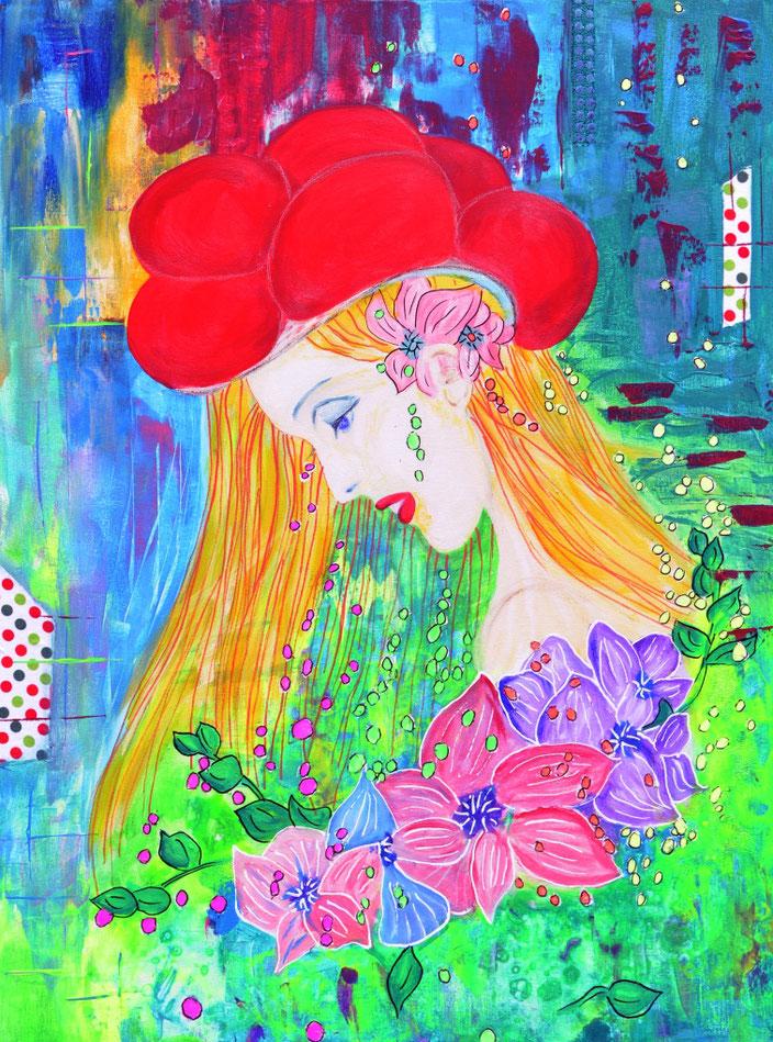 Blumenbilder/Fantasy/Flowers/Blumen/Mädchen/Hybiskus/Blüten/Blumenmädchen/Träumerei/Dreams