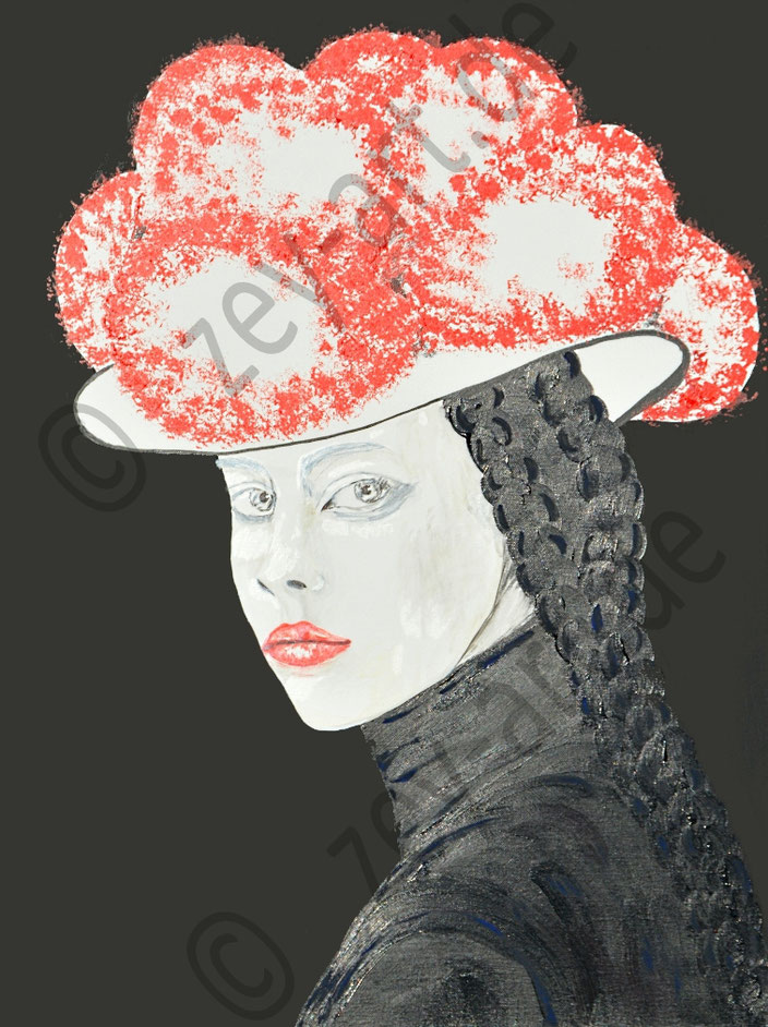 Blackforestgirl/Schwarzwald/Schwarzwaldmädel/Schwarzwaldbilder/Bollenhut/Trachtenmädchen/Acrylmalerei/romantische Malerei/Heimat/heileWelt/Träumerei/schwarz/black