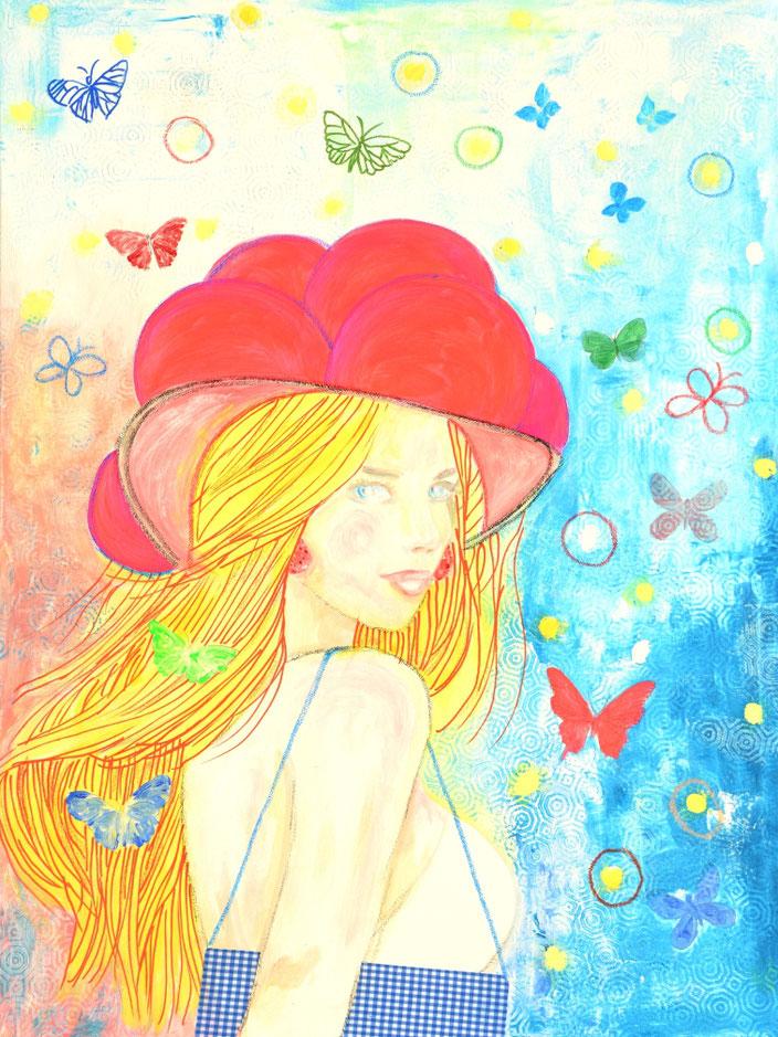 Blackforestgirl/Schwarzwald/Schwarzwaldmädel/Schwarzwaldbilder/Bollenhut/Trachtenmädchen/Acrylmalerei/romantische Malerei/Heimat/heileWelt/Träumerei/dreams/butterfly/flowers/Blütenmeer