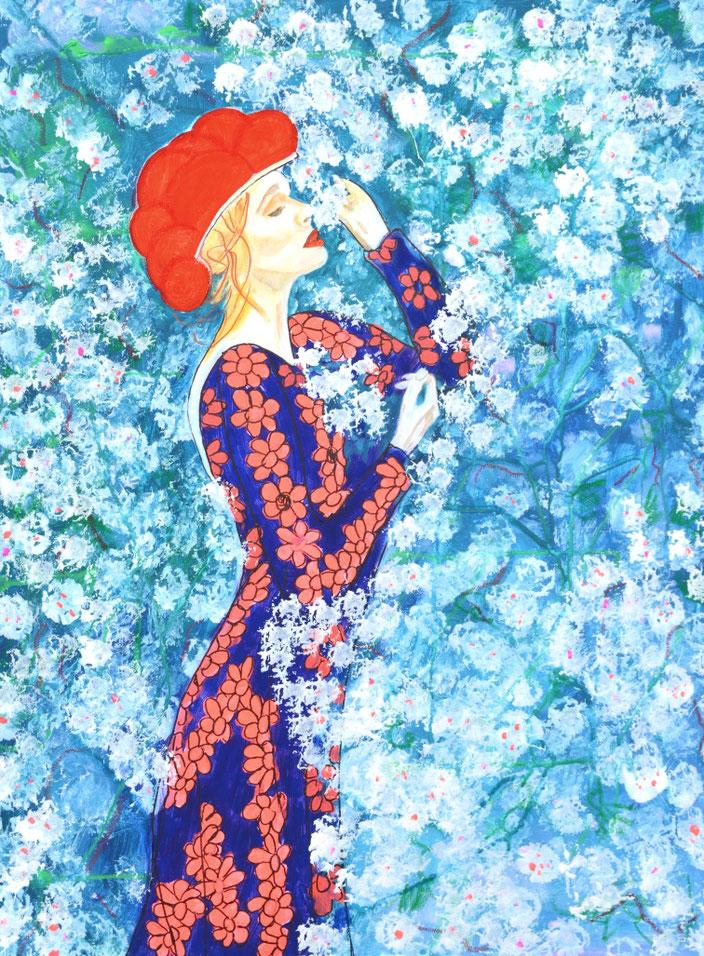 Blackforestgirl/Schwarzwald/Schwarzwaldmädel/Schwarzwaldbilder/Bollenhut/Trachtenmädchen/Acrylmalerei/romantische Malerei/Heimat/heileWelt/Träumerei/dreams/flowers/Blütenmeer/Flieder/lilac