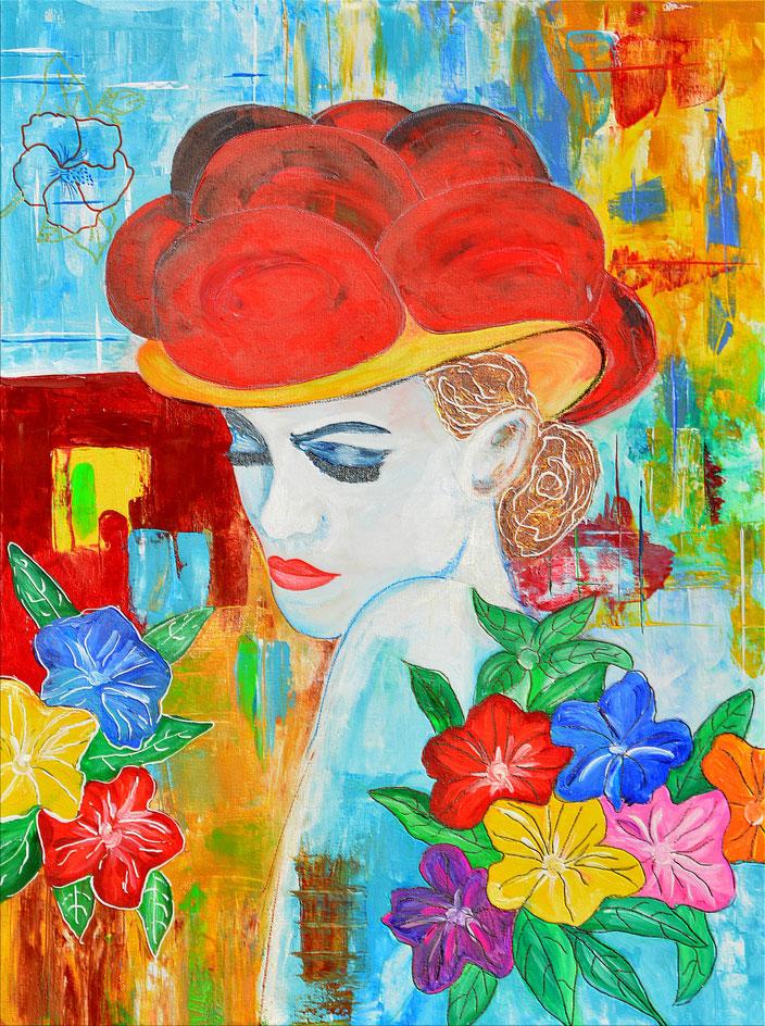 Blumenmädchen mit Bollenhut