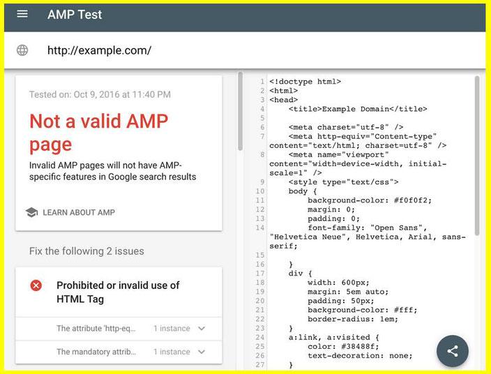 Google  AMP тест 2016