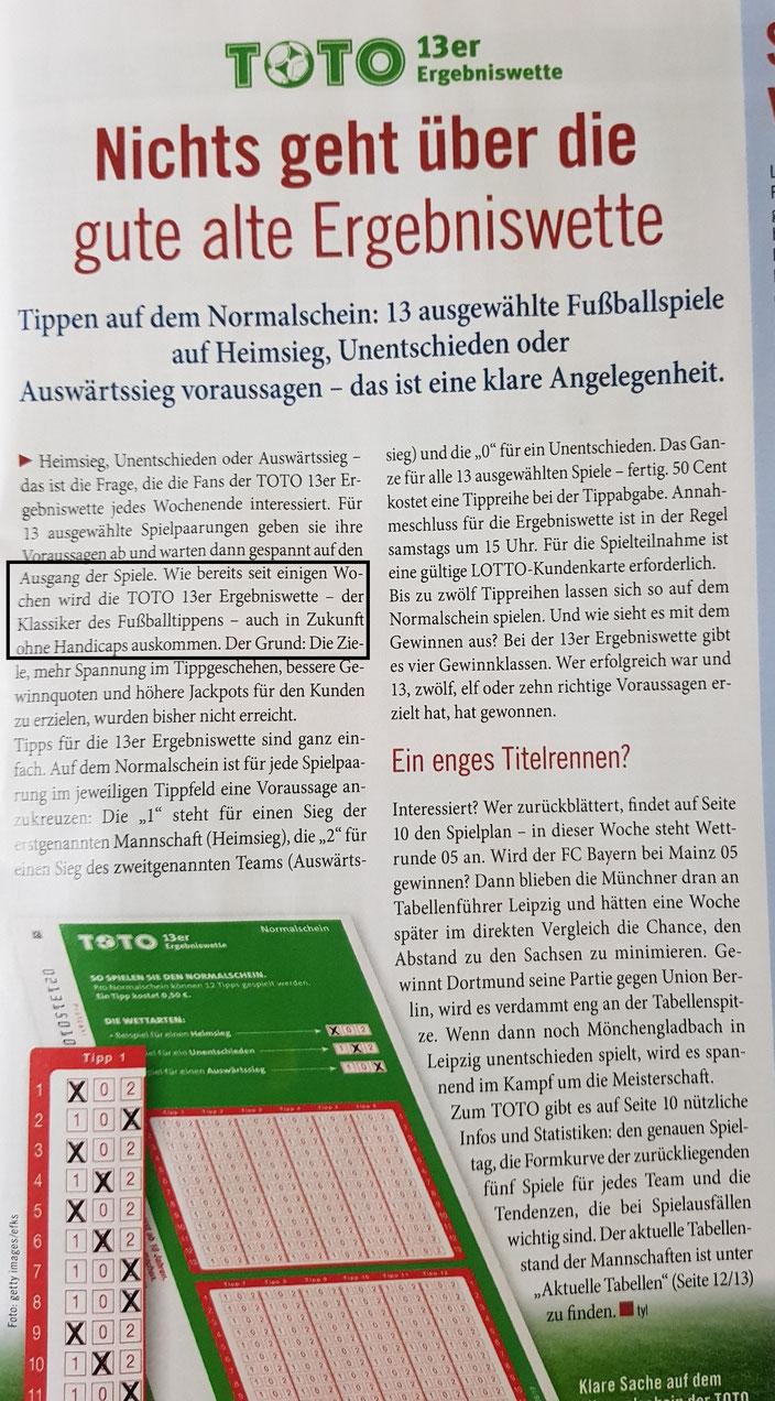 """Im Kundenmagazin """"Glücksblatt"""" von Lotto-Bayern wird über das HC-Ende berichtet"""