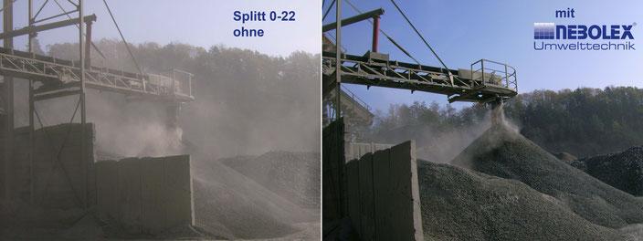 Vergleichsbild ohne und mit Staubbindung von NEBOLEX Umwelttechnik GmbH