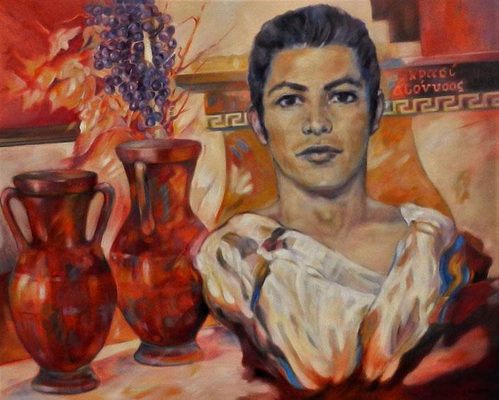 Dionysus - Ελληνική μυθολογία - Thema Griekse mythologie  -  Olieverf op doek  100 x 80 cm