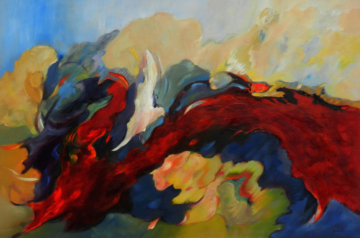 Wings - Abstract olieverf op doek 120 x 80 cm