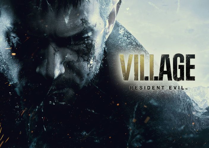 Titelbild von Resident Evil Village von Capcom mit Chris Redfield und dem Logo des Spiels.